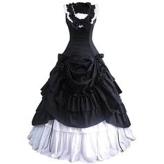 Partiss Bowknot BallGown Gothic Lolita Evening Dress, XXL, Black ($76) ❤ liked on Polyvore featuring dresses, gothic clothing dresses, gothic dresses, goth dresses and gothic lolita dress