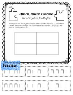 """Queen, Queen Caroline Piece-Together-the-Rhythm Worksheet from """"Worksheet Bundle: Ta and Ti-Ti"""""""