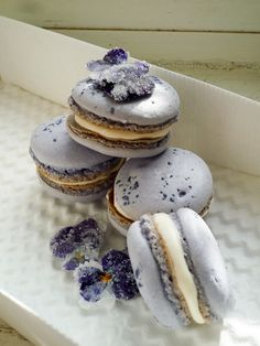 Blue Fairy Macarons with Rose Bubble Wine & Candied Pansy Butter Cream