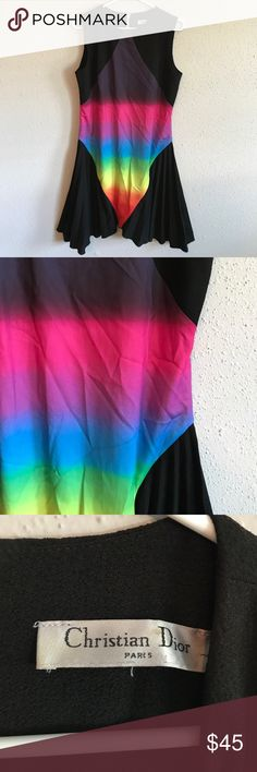 Christian Dior black multicolored dress Christian Dior black multicolored dress. Rainbow colors. great condition. No flaws. Statement dress. Taking offers Christian Dior Dresses
