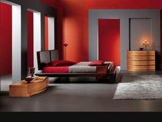 Interiores modernos en gris y rojo