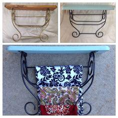 Toalla Rack - old towel rack, left over paint and spray paint + cute random towels!