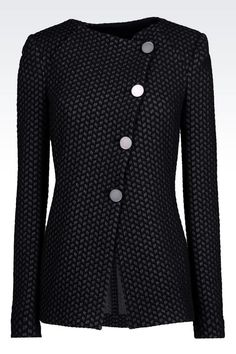 Armani Collection Women Dinner Jacket in jacquard cotton blend Sweater Jacket, Blazer Jacket, Work Fashion, Fashion Outfits, Fashion Design, Jackets For Women, Clothes For Women, Professional Attire, Jacket Pattern
