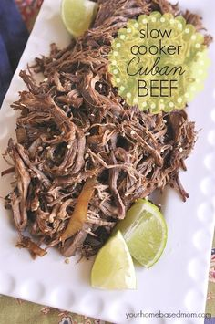 Slow Cooker Cuban Shredded Beef Tacos Recipe #cubanbeef #slowcookerbeefrecipes #beef