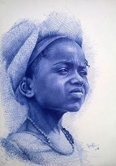 Ink Drawing Artist Enam Bosokah from Ghana, uses a blue ballpoint pen to create impressive portraits and ____________________________ Biro Art, Ballpoint Pen Art, Ballpoint Pen Drawing, Drawing With Pen, Biro Portrait, Portrait Sketches, Art Sketches, Stylo Art, Pen Illustration