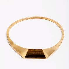 Brass and Tigers Eye Logan necklace Ming Yu Wang Jewelry NY