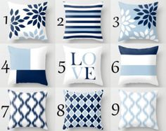 Throw Pillow Designs in navy, sand, and white. Individually cut and sewn, features a 2 sided print and is finished with a zipper for ease of care. SIZES: 16in. X 16in. 18in. X 18in. 20in. X 20in. 26in. X 26in. (euro) 14in. X 20in. (lumbar) IMPORTANT: These are covers only, you can cover existing pillows or purchase the pillow forms online or any local craft store . FABRIC: Spun Poly Poplin. Medium weight high quality fabric that is durable and slightly textured and suitable for pillows a...