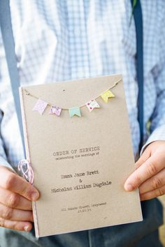 Washi Tape Bunting Stationery Twine Pretty Quirky DIY Village Hall Wedding http://lauradebourdephotography.com/
