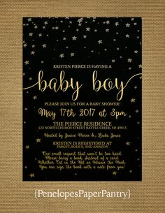 Baby Boy Shower Invitation, Black and Gold, Gold Stars, Black Print, Gold Metallic Paper, Book Poem, Customizable, With Black Envelopes