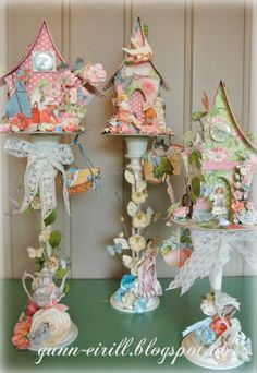 Birdhouse on candelstick-love the idea, but a little less would be better for my taste.