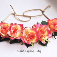 Bold, bright, boho floral halo by Scarlet Begonias Baby on Etsy, $18.00