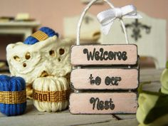 Dollhouse miniature sign shabby sign Welcome sign by DewdropMinis Dollhouse Accessories, Garden Accessories, Laundry Signs, Made Of Wood, Dollhouse Furniture, Dollhouse Miniatures, Hand Stamped, Crates, Shabby
