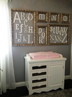PAINTED Alphabet Set - Wooden Wall Letter - Alphabet Wall- mixed fonts and sizes-DIY- ABC Wall- Gift- Baby Shower. $155.00, via Etsy.