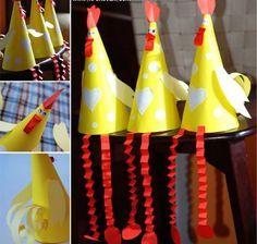 Leuke knutselideeen - Vouw van papier een kegel, en maak je eigen kip. Leuk voor pasen of om op school te doen.