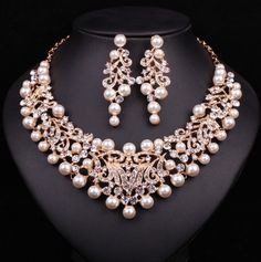 Wedding Jewelry Fashion Pearl Statement Necklace Earrings Bridal Jewelry Sets Bride Gold Plated Jewellery Wedding Prom Dress Accessories Women Item specifics Item Type: Jewelry Sets Fine or Fashion: Fashion Included Pearl Statement Necklace, Pearl Necklace Wedding, Bridal Earrings, Pearl Jewelry, Necklace Set, Fine Jewelry, Gold Jewelry, Pearl Bridal, Jewelry Rings