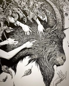 The Devil Makes Six (detail), ink on Bristol, 2016. Aaron Horkey art
