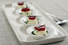 goat-cheese panna cotta with canned cranberry-sauce cutouts:  an amuse-bouche for Thanksgiving Day!