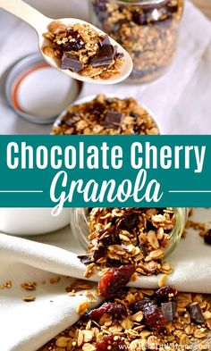 Chocolate-Covered Cherry Granola ... a delicious and easy to make breakfast recipe! Love Chocolate Cherry Recipes? Then this Chocolate Cherry Granola is for you! This easy vegan Granola Recipe is made with simple, healthy ingredients: quinoa, dark chocolate, oats, maple syrup, and dried cherries. You're going to love this unique, creative Cherry Chocolate Granola, and it makes a great snack, too! Vegan + Dairy Free. | Hello Little Home Low Carb Summer Recipes, Summer Dessert Recipes, Healthy Dessert Recipes, Yummy Snacks, Vegan Desserts, Snack Recipes, Brunch Recipes, Delicious Recipes, Healthy Foods