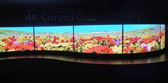 This wall of 56-inch curved OLEDs greeted visitors to the Panasonic booth.