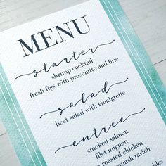 I love wedding menus. Especially if the couple chooses to include food that speaks to them and their personality. For me, this would be Filet Mignon with plenty of pepper and butter. Oh man I'm getting hungry just thinking about it. 😉 . . .  I love how this elegant watercolor menu turned out! It's great as a stand-alone piece at a shower or party. Or it can be paired with the rest of the set for a complete look. Keep an eye out for it on the website for a customizable piece later this week…