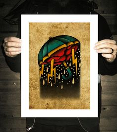 Umbrella Storm NeoTraditional Tattoo Flash Old School by BlackMast, $35.00