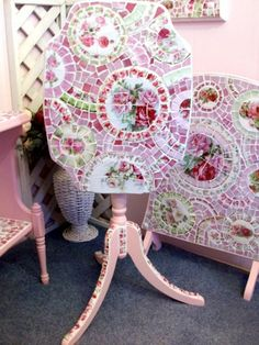 The Prettiest Pink Tilt Top Shabby Mosaic Table   Just liste…   Flickr