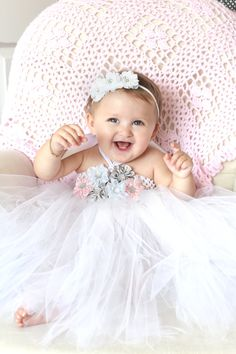 Beautiful Pink Gray White Satin Flower Girl Tutu Dress by AverysCoutureLook, $45.00