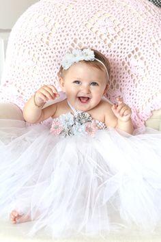 Beautiful Pink Gray White Satin Flower Girl Tutu Dress by AverysCoutureLook, $45.00