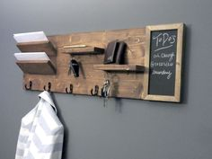 Entryway Organizer with Chalkboard, Wall Mount Pine Wood Mail Organizer, Sunglasses and Key Storage, Entry Way Coat Rack Diys Rustic Wood Shelving, Industrial Shelving, Wooden Shelves, Floating Shelves, Key Hooks For Wall, Coat Hooks On Wall, Mail And Key Holder, Wall Key Holder, Key Holders