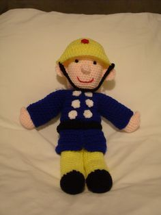 Fireman Sam crochet pattern soon to be available from http://smudgersdesigns.com/