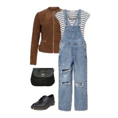 Striped t-shirt+dungarees+black brogues/ Oxford shoes+brown suede jacket+black crossbody bag. Spring Casual Outfit 2018