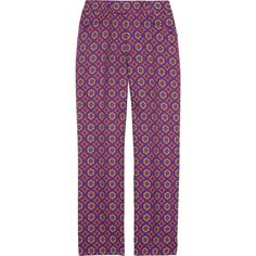 Miu Miu Cropped wool-blend brocade pants (7.270 CZK) ❤ liked on Polyvore featuring pants, capris, bottoms, miu miu, trousers, violet, zipper trousers, high-waisted pants, button pants and zipper pants