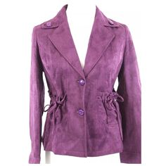 "Purple Super Soft Microfiber Jacket Medium I love this jacket!!   It runs on the small side so please check the measurements below.  It feels like a soft suede fabric, great texture.   It is a deep purple color.  2 buttons down the front.  Gathered tie pocket on each side.  95% polyester, 5% spandex, so plenty of stretch for that perfect fit!  Spectacular detail to this jacket that I just could not capture in the photos. armpit to armpit 37"" shoulder to shoulder 18.5"" Waist 30"" length of…"