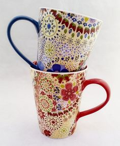 Starbucks coffee 2007 set of 1 Red and 1 Blue 13 Oz flowers ( 2 mugs) #STARBUCKS