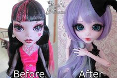 The before and after of my newest Monster High custom.^ This is the Monster High, Gooliope, which was really fun to customize since she's so big. Gooliope to Umeko - Before and after Monster High Crafts, Custom Monster High Dolls, Monster Dolls, Monster High Repaint, Custom Dolls, Pretty Dolls, Beautiful Dolls, Ooak Dolls, Art Dolls