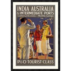 ac01a0af5b4 Global Gallery  India Australia and Intermediate Ports   P and O  by  Michael Framed Vintage Advertisement. Michaels FramesIndia AustraliaCustom  ...