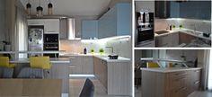 Η κουζίνα cement θα σας κάνει να ξεχωρίσετε χάρη σε μια αναπάντεχη τριλογία υλικών. Ο συνδυασμός βακελίτη, λάκας και τσιμέντου θα προσδώσει στον χώρο σας μια άκρως μοντέρνα εκδοχή, μιας σύγχρονης κουζίνας. Τα ντουλάπια της βάσης είναι κατασκευασμένα από ανάγλυφο βακελίτη στο χρώμα της άμμου, ενώ τα κρεμαστά είναι βαμμένα σε γυαλιστερή λάκα γαλάζιου χρώματος. Οι μεγάλοι όγκοι του ψυγείου και της κολόνας φούρνου είναι βαμμένοι σε λευκή λάκα, ώστε να μην βαραίνουν το σύνολο.