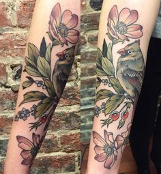 Last tattoo @holditdowntattoo. Wild clustered rose, bayberry, female cardinal. It's been such a great trip. So grateful to the shop for having me and to my friend @joshstephenstattoos for hosting me and showing me around Richmond!