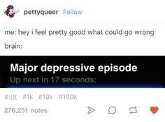 Tumblr Posts, Fb Memes, Funny Memes, Mental Health Memes, I Am Bad, Depression Memes, Depression Symptoms, I Feel Pretty, Funny
