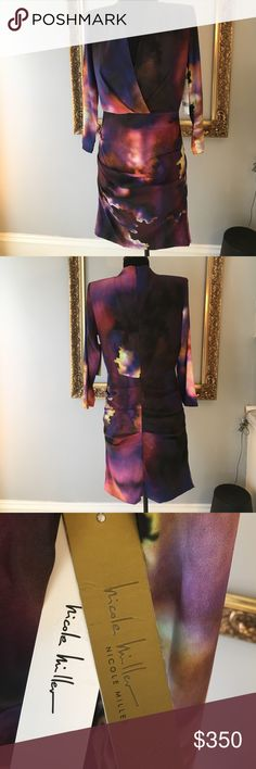 NWT Nicole Miller Silk dress Beautiful Silk Nicole Miller dress. I got this because it looks like an image from space but the cut is a little too low for me. It has built in shoulder pads that give it a little drama. Nicole Miller Dresses