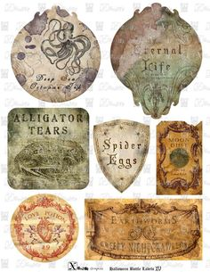 NEW Haunted Halloween Spooky Bottle Labels IV  by XanderGraphics