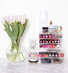 Store beauty products in clear containers