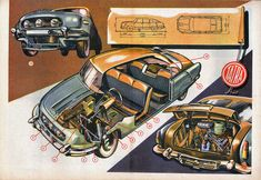 Car Illustration, Mini Trucks, Car Advertising, Car Drawings, Cutaway, Old Cars, Car Accessories, Science And Technology, Cars And Motorcycles
