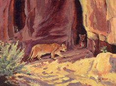 "Mountain Lions in Arizona by Nancee Jean Busse Acrylic ~ 9"" x 12""-Original Wildlife Cat, Mountain Lion Art Painting ""MOUNTAIN LIONS IN ARIZONA"" by Nancee Jean Busse, Painter of the American West-http://nanceejean.com/workszoom/1384421"