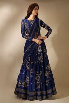 Wearing a blue bridal lehenga for your big day? These blue bridal lehengas will up your glamour quotient. The unique lehenga is in huge demand nowadays. Take cues from these designer lehenga. Indian Lehenga, Lehenga Sari, Lehnga Dress, Lehenga Style, Indian Gowns, Indian Attire, Pakistani Dresses, Sarees, Lehenga Saree Design