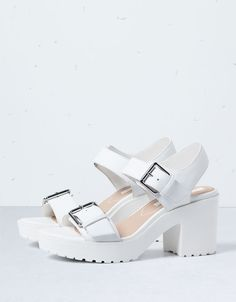 white sandals | silver buckle