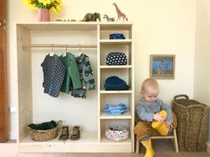 How we Montessori toddler wardrobe dressing space at 17 months. How we Montessori