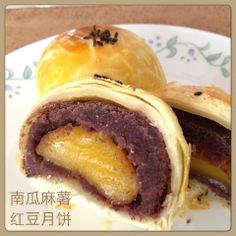 My Mind Patch: Red Bean & Pumpkin Mochi Mooncake 红豆南瓜麻薯月饼 Fancy Desserts, Asian Desserts, Baking Desserts, Mooncake Recipe, Bean Cakes, Puff Pastry Recipes, Almond Cookies, Moon Cake, Portuguese Recipes