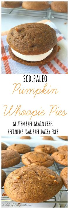 These easy and yummy cake like pumpkin whoopie pies are the perfect way to enhance your fall! The use of protein rich almond flour almond butter and warm spices complement the beautiful meringue filling. These are SCD and Paleo. Paleo Sweets, Paleo Dessert, Gluten Free Desserts, Dairy Free Recipes, Dessert Recipes, Scd Recipes, Stevia Desserts, Paleo Pumpkin Recipes, Healthier Desserts
