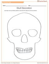Printable Skull Decoration for Dia de Los Muertos | Day of the Dead Art Activity https://www.teachervision.com/coloring-pages/printable/75500.html